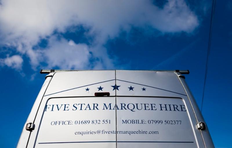 van image five star marquee hire kent surrey london